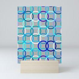 Mid-Century Modern Circles, Grey, Blue and Aqua Mini Art Print