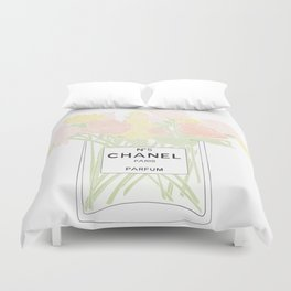 perfume no.5 with pink and yellow flowers Duvet Cover