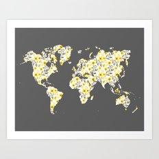 Yellow Flowers World Map Art Print