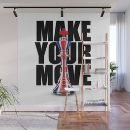 Make Your Move UK / 3D render of chess king with British flag Wall Mural