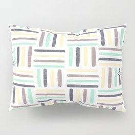 Linear Weave //Basket Weave Design, Pastel colours, green, black, brown, yellow Pillow Sham
