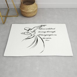 Love Will Find Its Way Through All Languages Rumi Quote Rug