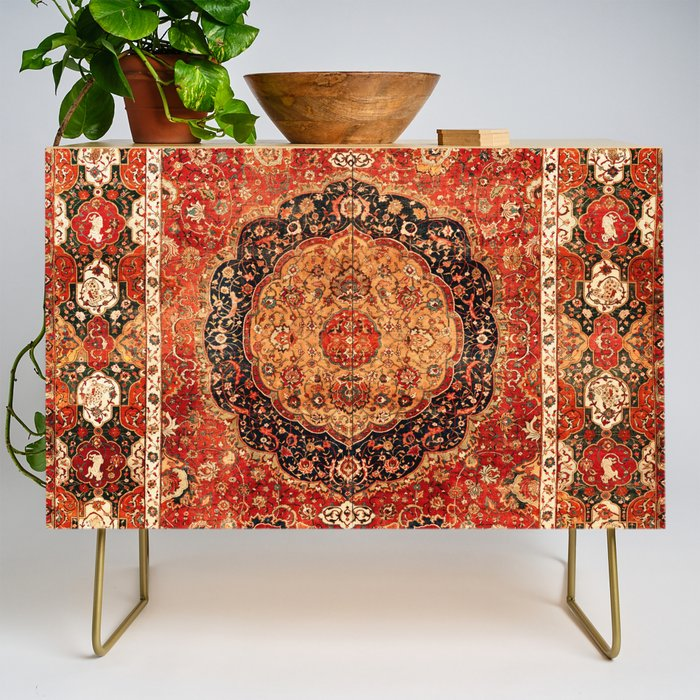 Seley 16th Century Antique Persian Carpet Print Credenza
