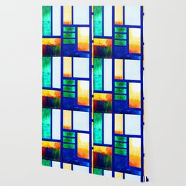 Art Deco Colorful Stained Glass Wallpaper