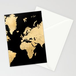 Sleek black and gold world map Stationery Cards