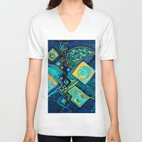 sparkles V-neck T-shirts featuring GALAXY SPARKLES BLUE by Deyana Deco