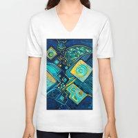 sparkles V-neck T-shirts featuring GALAXY SPARKLES BLUE by Deyana Deco