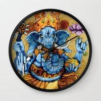 ganesh Wall Clocks featuring Ganesh by RICHMOND ART STUDIO