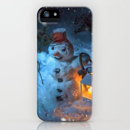 Snowman at night iPhone Case