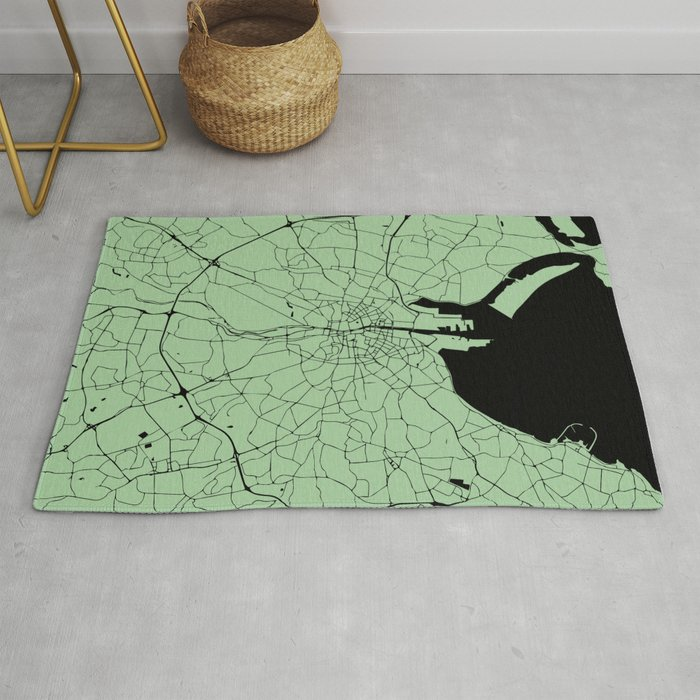 Street Map Of Ireland.Dublin Ireland Green On Black Street Map Rug By Mapmaker