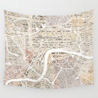 london map Wall Tapestries featuring London map by Mapsland