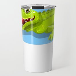 Cartoon Crocodile Vector Design Travel Mug