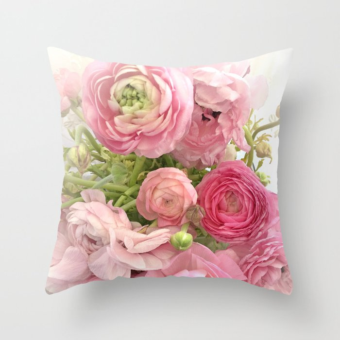 Shabby Chic Cottage Ranunculus Peonies Roses Fl Print Home Decor Throw Pillow By Kathyfornal