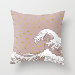 Rolling Waves in Gold Throw Pillow