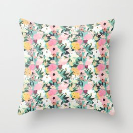 Pretty Watercolor Pink & White Floral Green Design Throw Pillow