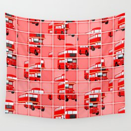 London Bus Pixel Puzzle Wall Tapestry