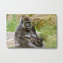 Gorilla Mother and Baby Metal Print