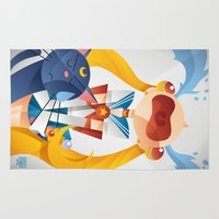 sailormoon Area & Throw Rugs featuring Crying Sailor Moon by Claudio Bandoli