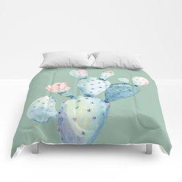 Rose Desert Cactus Mint Green Comforters