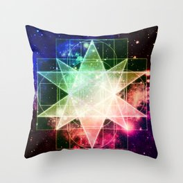 Rainbow Galaxy Sacred Geometry : Stellated Icoshadron Throw Pillow