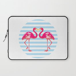 Flamingo, Flamingo t-shirt, watercolor poster, pink in blue stripes, circle Laptop Sleeve