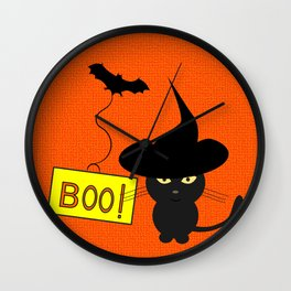 Cute cat on Halloween Wall Clock