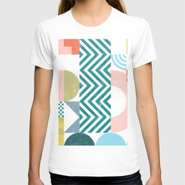 Modern geometric shapes patchwork collage T-shirt