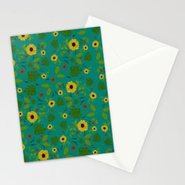 Sunflower & Monstera Leaf Stationery Cards
