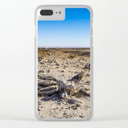 Uprooted Ocotillo Plant in the Middle of Dust and Rocks in the Anza Borrego Desert, California Clear iPhone Case