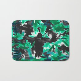 psychedelic vintage camouflage painting texture abstract in green and black Bath Mat