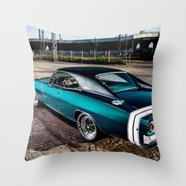 1969 MOPAR Hemi Charger RT in Q5 Turquoise Blue Throw Pillow