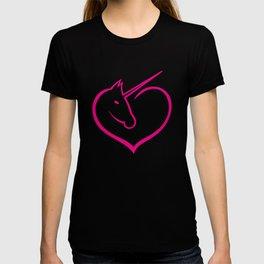 I love unicorns Pink Unicorn inside a heart T-shirt