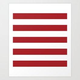 Rambutan Red - solid color - white stripes pattern Art Print