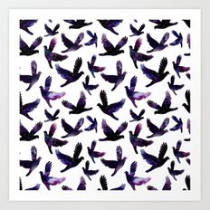 Galaxy Birds Pattern Art Print