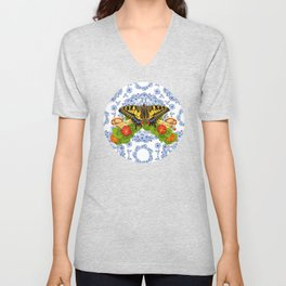 Swallowtail Butterfly and Blue Rhapsody Unisex V-Neck