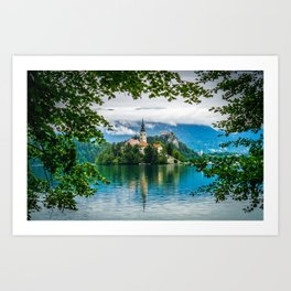 A Church on a Lake Art Print