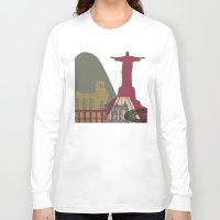 rio de janeiro Long Sleeve T-shirts featuring Rio de Janeiro skyline poster by Paulrommer