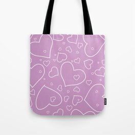 Lavender and White Hand Drawn Hearts Pattern Tote Bag