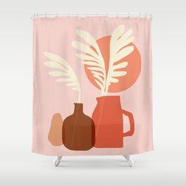 Abstraction_SUN_PLANT_POT_Minimalism_001 Shower Curtain