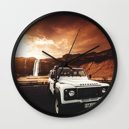 defender in iceland Wall Clock