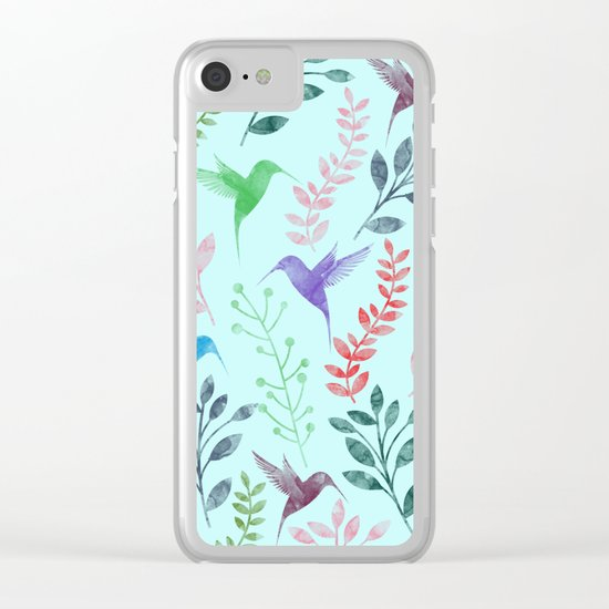 Watercolor Floral & Birds III Clear iPhone Case