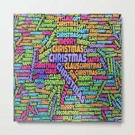 Christmas Jumble xmas gift present Santa claus december 25 joyful yule jingle bells nice naughty festive Metal Print