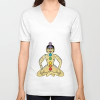 yoga V-neck T-shirts featuring YOGA by Gianluca Floris