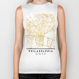 PHILADELPHIA PENNSYLVANIA CITY STREET MAP ART Biker Tank