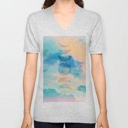Unicorn Pastel Clouds Moon Phases #2 #decor #art #society6  Unisex V-Neck