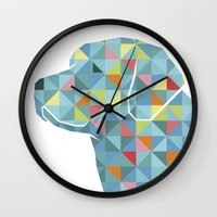labrador Wall Clocks featuring Geo Labrador by Jonathan Hall