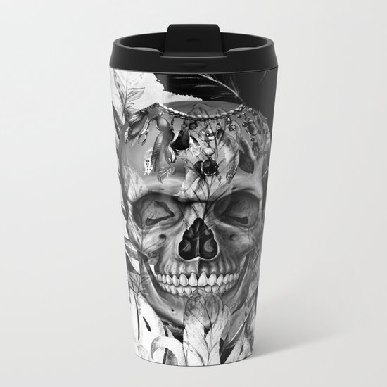 Black White Boho Skull Metal Travel Mug