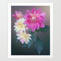 Polygon Flowers Art Print