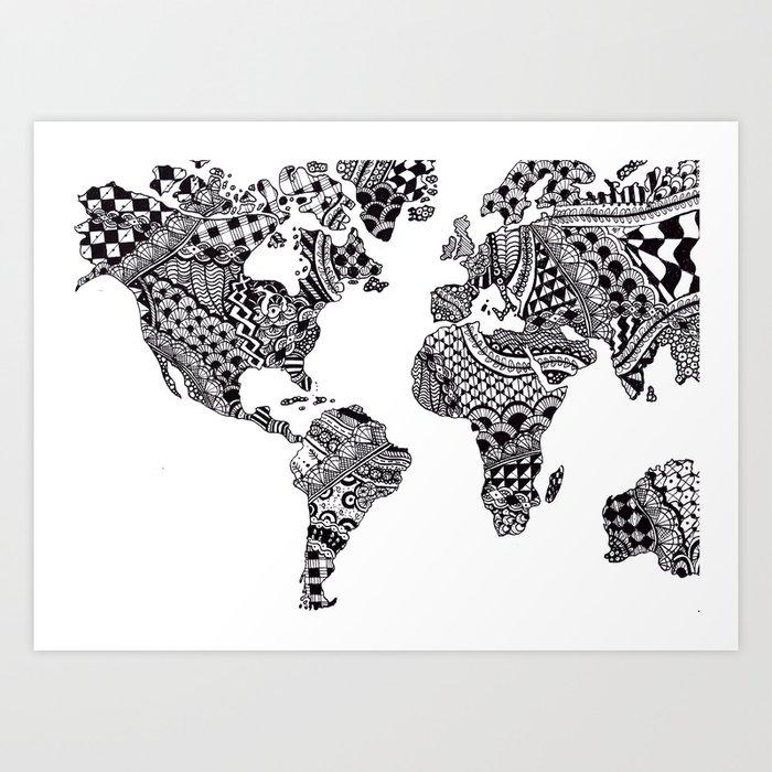 Zentangle world map art print by allygracie society6 zentangle world map art print gumiabroncs Images