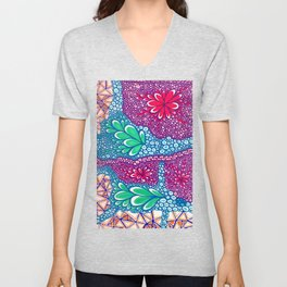 Flower Doodle Unisex V-Neck